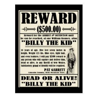 Billy el niño quiso el poster tarjetas postales