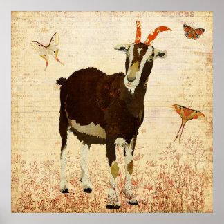 Billy Goat & Butterflies Poster
