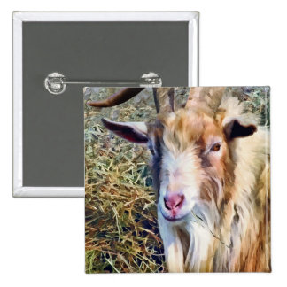 Billy Goat Closeup 2 Inch Square Button