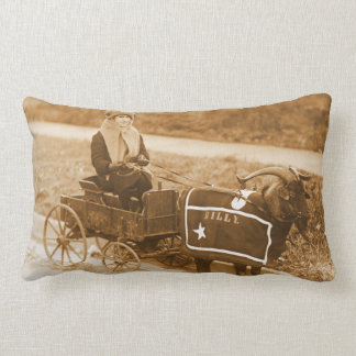 Billy Goat Pulling a Little Girl in Wagon Vintage Throw Pillows