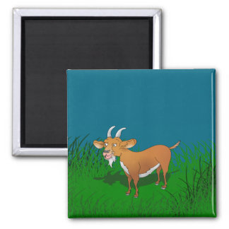 Billy goat with cheerful smile 2 inch square magnet