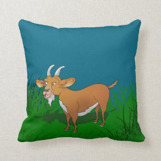 Billy goat with cheerful smile throw pillow