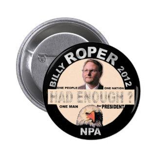 Billy Roper for president 2012 Pinback Button