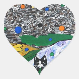 billy the cat and his secret garden heart sticker