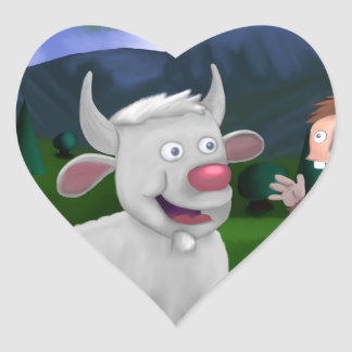BIlly the Goat and Sam the Sasquatch Heart Sticker