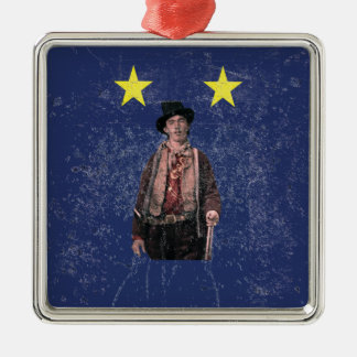 Billy the Kid Distressed Texas Flag Metal Ornament