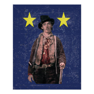 Billy the Kid Distressed Texas Flag Poster