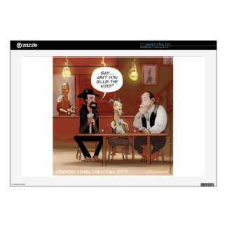 """Billy The Kid? Funny Goat Cartoon 17"""" Laptop Decal"""