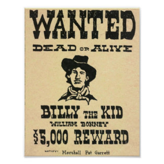 Billy the Kid Old Wild West Wanted Poster