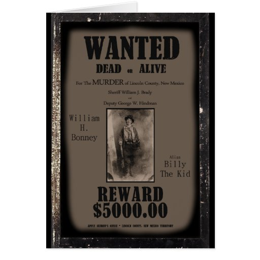 Billy The Kid Wanted Dead or Alive Poster Card