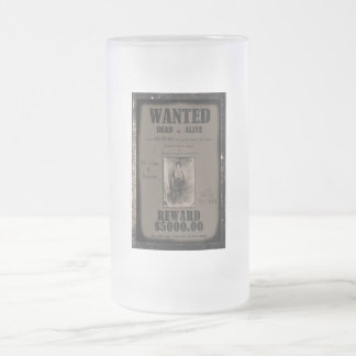 Billy The Kid Wanted Dead or Alive Poster Frosted Glass Beer Mug