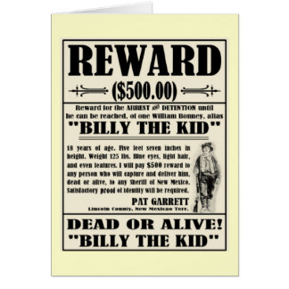 Billy the Kid Wanted Poster Card