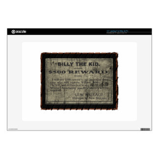 """Billy The Kid Wanted Poster 15"""" Laptop Skins"""