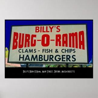 Billy's Burg-O-Rama, Main St., Oxford, MA Poster