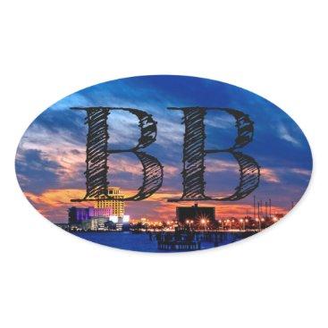 "Biloxi Beach ""BB"" Oval Sticker"