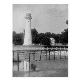 Biloxi Lighthouse Vintage Photo Postcard
