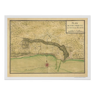 Biloxi Mississippi Fortification Map 1721 Poster
