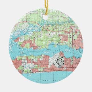 Biloxi Mississippi Map (1992) Ceramic Ornament