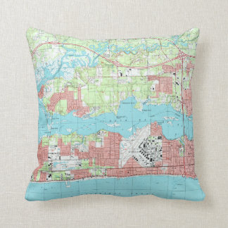 Biloxi Mississippi Map (1992) Throw Pillow