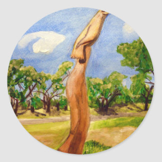 Biloxi Oaktree carving Classic Round Sticker