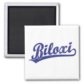 Biloxi script logo in blue 2 inch square magnet