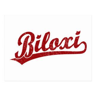 Biloxi script logo in red postcards