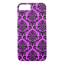 BILTMORE DAMASK in BLACK and MAGENTA iPhone 8/7 Case