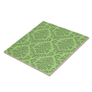 BILTMORE DAMASK in EMBOSSED GREEN Tile