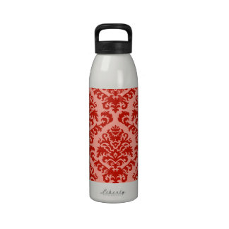 BILTMORE DAMASK in RED and PEACH Reusable Water Bottle