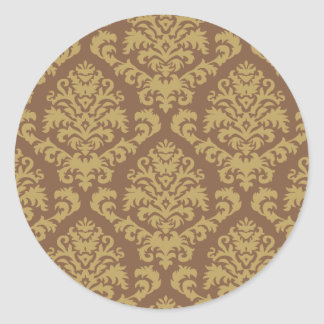 BILTMORE DAMASK in TOFFEE and CHOCOLATE Classic Round Sticker
