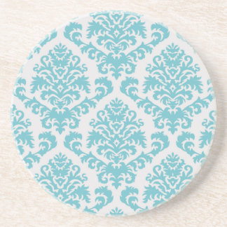 BILTMORE DAMASK in TURQUOISE and LIGHT GRAY Coaster