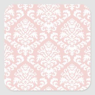 BILTMORE DAMASK in WHITE and BLUSH PINK Square Sticker
