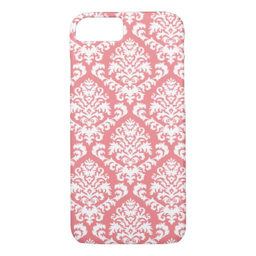 BILTMORE DAMASK in WHITE on SALMON PINK iPhone 8/7 Case
