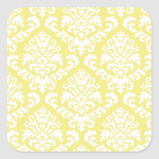 BILTMORE DAMASK in WHITE on YELLOW Square Stickers