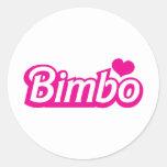 Bimbo pretty little dolly font round sticker