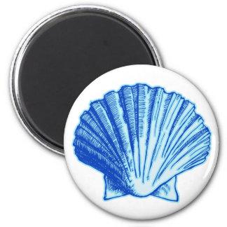 Bimini Blue Sea Shell 2 Inch Round Magnet