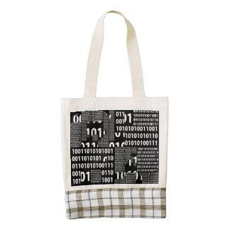Binario en negro y blanco bolsa tote zazzle HEART