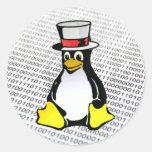 Binario Ubuntu del sombrero de copa del pingüino d Etiquetas