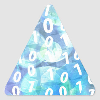 Binary Code Blue Triangle Sticker