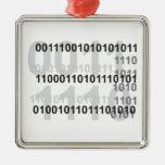 binary code design square metal christmas ornament