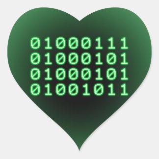 Binary code for GEEK Heart Sticker