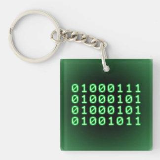 Binary code for GEEK Square Acrylic Key Chain