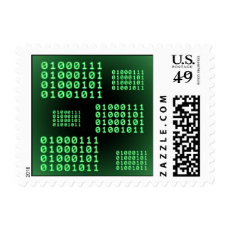 Binary code for GEEK Postage Stamp