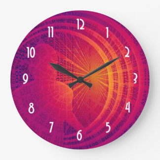 Binary Code Hi-Tech  Abstract Design Large Clock