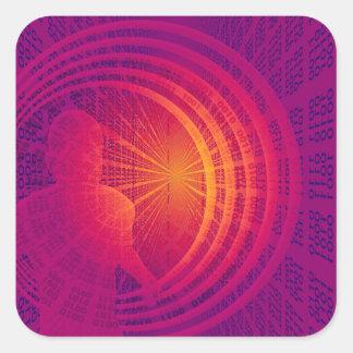 Binary Code Hi-Tech  Abstract Design Square Sticker