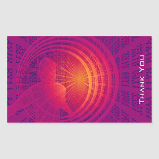 Binary Code Hi-Tech  Abstract Design Thank You Rectangular Sticker