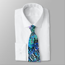 Binary Code In Shades of Blue Neck Tie