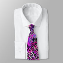 Binary Code In Shades of Pink Neck Tie