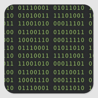 Binary Code Square Sticker