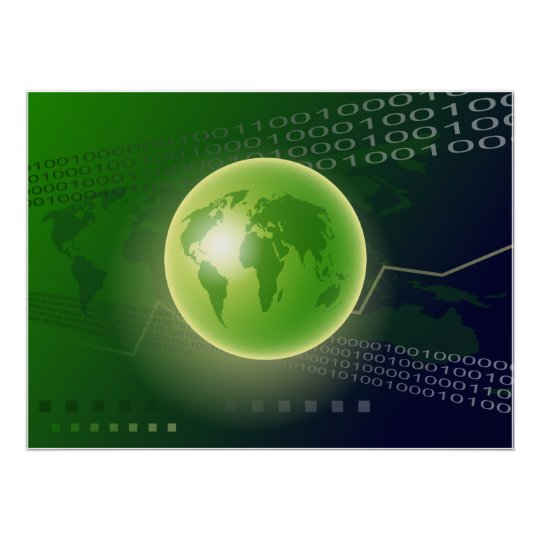 Binary Globe Background Poster